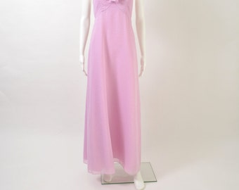 Vintage 1960s 60s Swiss Dot Maxi Halter Lavender Dress with Ruffle Collar