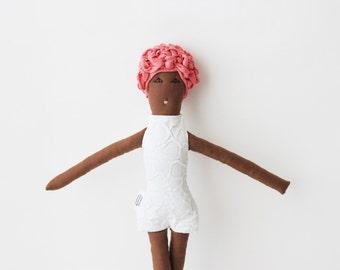 Swimmer cloth doll 'Dahlia', african retro stuffed doll, pink floral swim cap soft doll, brocade softies, nursery decor kids toy gift