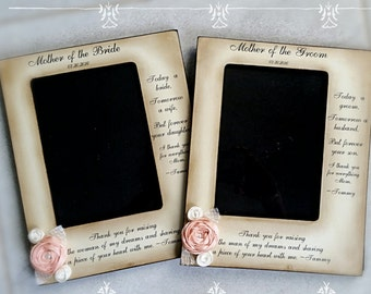 Mother of the Groom, Bride Frame from bride and groom, two messages, picture frame, rustic wedding, mom sign flower personalized
