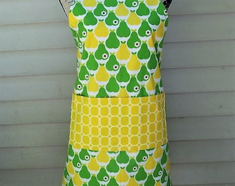 Reversible Green and Yellow Pear Apron