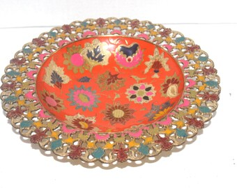 Vintage Brass Enameled Flower Bowl Plate from India, Antique Alchemy