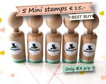 Mini ink Stamps Choose 5 out of more than 200 different designs