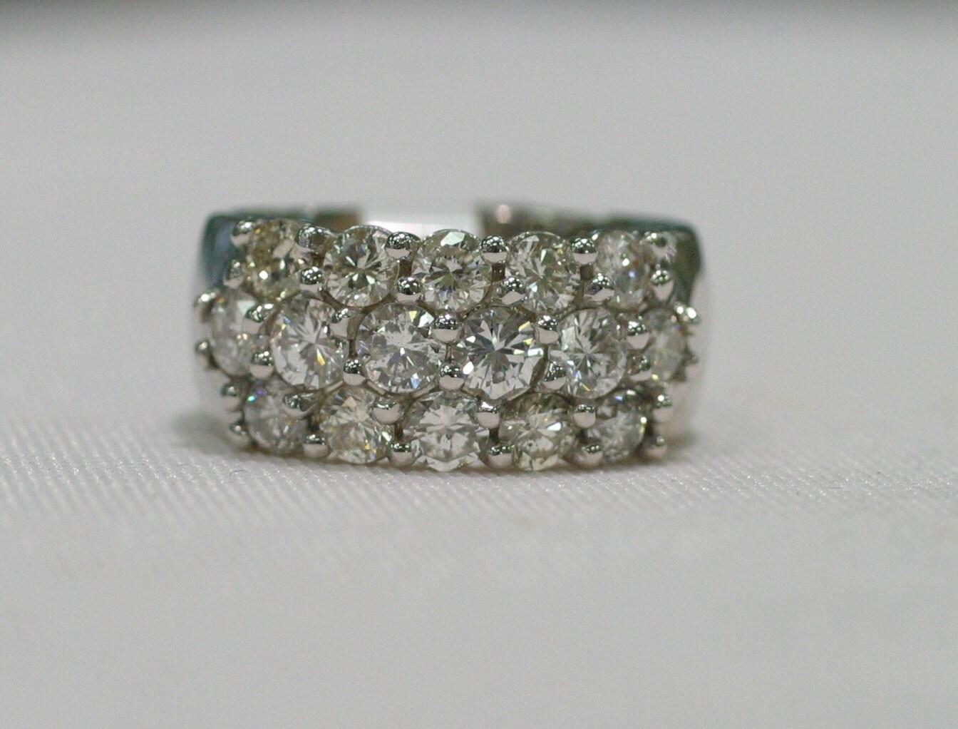 multi row diamond cluster ring in 14k white gold. Black Bedroom Furniture Sets. Home Design Ideas