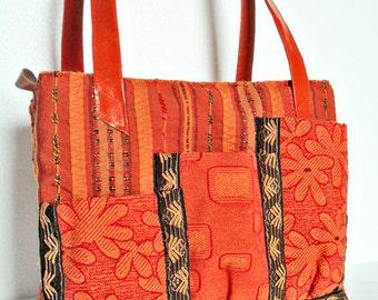 Handbag, Large Bag, Medium Bag, Everyday Bag, Zippered Bag, Bag with Pockets, Orange Bag, Boho Bag, Hippie Bag, Ethnic Fabric, Handmade Bag