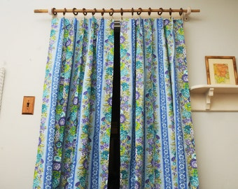 PAIR Mid Century Curtain Panels Turquoise Purple Floral