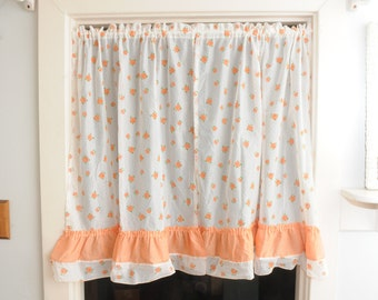 Floral Sheer Cafe Curtains Coral with Flowers
