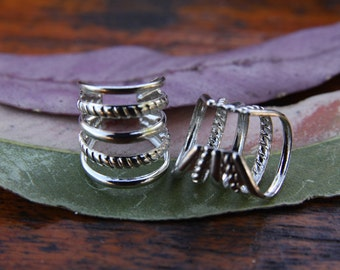 2 Siver Plated Pattern Ring Cuffs DREADLOCK BEADS 10mm Hole Dread Loc Hair Beads