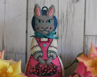Lady Hare- Medium, hand cut and hand embroidered felt art doll, with basket of Spring flowers