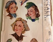 Vintage McCall's Pattern 1071 Misses Hats  One Size