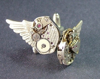 For Him Silver Wing Watch Movement Cufflinks