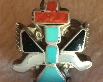 Vintage Native American Zuni Channel Inlay Knifewing Dancer Ring - Size 5