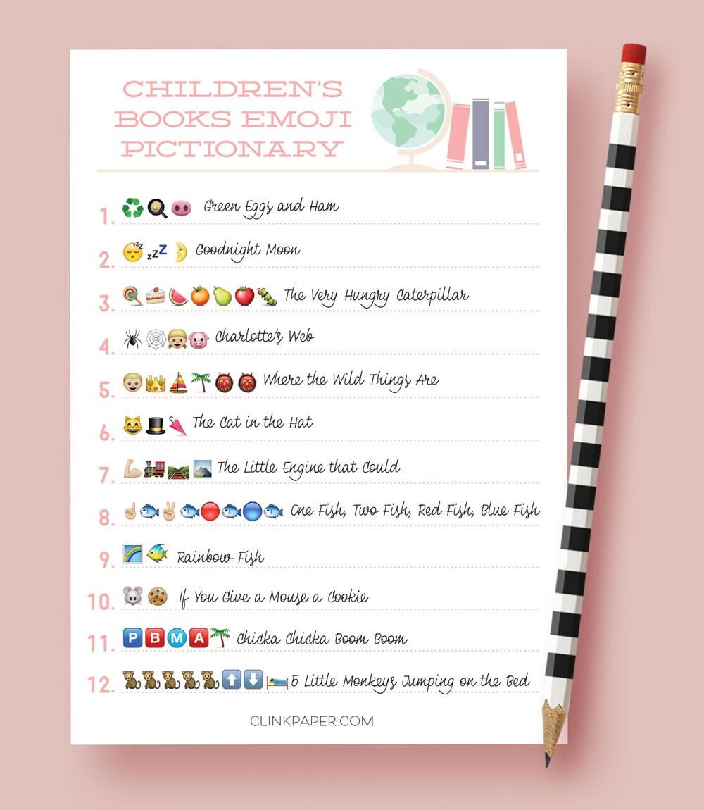 Children's Books Emoji Pictionary Baby Shower Game