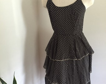 Vintage 60's Tiered Spaghetti Strap Party Dress Black with White Polka Dots