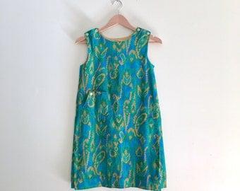 Vintage Corduroy Babydoll Jumper Dress // Blue & Green Mod Tent Dress // Scooter Mini Dress // Pinafore Dress  - 1960s