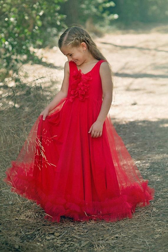 Mädchen Weihnachten Kleid Baby Mädchen langes rotes Kleid