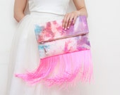 WINDY 5 / Large dyed cotton fold over daily clutch bag with long fringes - Ready to Ship