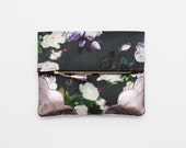 BLOSSOM / Floral fabric & Natural leather folded clutch bag with leather tassel - Ready to Ship