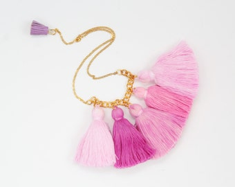 SALE / Five tassel necklace-cotton tassel jewelry-ombre tassel necklace-tassel jewelry-tiedyed hand colored ombre-pink coral /WAVES 4