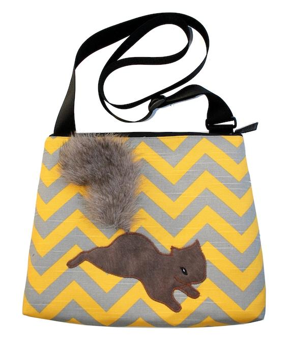 squirrel, chevron, yellow and grey, fake fur, vegan, cruelty free, large, cross body bag