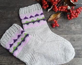 Hand Knitted Wool Socks -Colorful Socks for Women -Wool Socks Size Medium-US W 7-EU 38