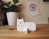 White cat desk ornament - Desk pet - Laser cut cat - Purple cat - Desk cat - Cat gifts - I like Cats - cat standee - ornament - laser cut