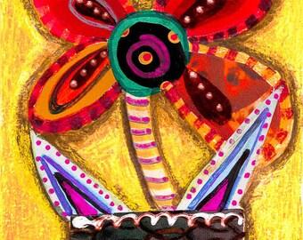 Flower Print  Folk Art Flower  Boho Art Print  Girl s Wall Art  RedRed room decor   Etsy. Red Room Decor. Home Design Ideas