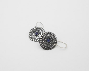 Fine Silver Earrings with Sapphire, Disk and Gemstone