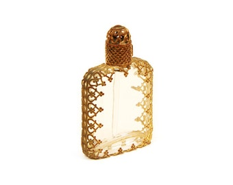 Vintage 70s Miniature Perfume Bottle - Filigree, Austrian, Vintage perfume, Perfume flask, Miniature bottle, Miniature perfume, Glass bottle