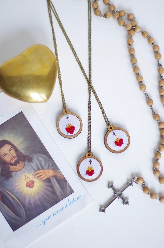 Sacred Heart Embroidered Necklace