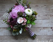 Boho Wedding Bouquet - Purple, Lavender, Peonies, Ranunculus, Statice, Berries, Bouquet with Accents, Wildflower Bouquet, Boho Wedding