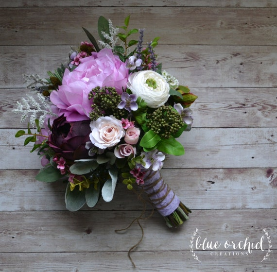 Boho Wedding Bouquet - Purple, Lavender, Peonies, Ranunculus, Statice, Berries, Bouquet with Accents, Wildflower Bouquet, Boho Wedding