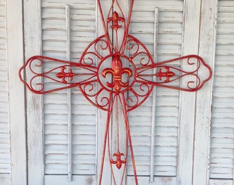 Fleur-de-lis Wall Cross - Red French Inspired French Country Wall Hanging - Christian Wall Decor