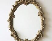 Vintage Ornate Mirror - Stunning Gold Gilt Gesso Framed Rococo Style Cartouche Mirror