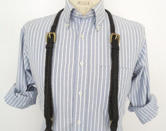 Vintage Braided Black Leather Suspenders / adjustable button-on braces with brass buckles / men's small