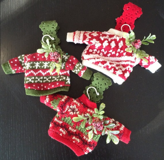Holiday Christmas Sweater Ornaments Miniature Sweater