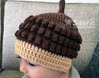 PATTERN Instant Download Acorn Hat Newborn to Toddler Sizes baby Crochet Beanie Fall Photo Prop