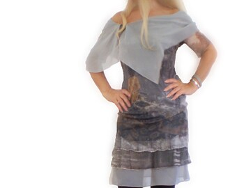 Grey layered dress silk wide  silk collar  printed dress with love story in front