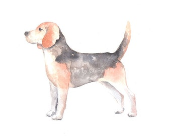 Dog, dog print, animal print, giclee, art, Watercolor, watercolor art print, BEAGLE DOG---Original watercolor giclee print