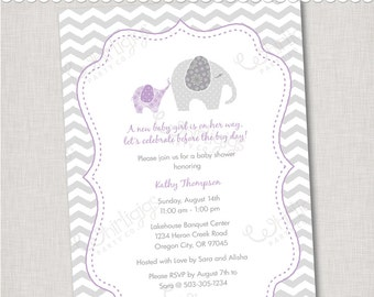 Purple Elephant Baby Shower Invitation  - Printable Digital File or Printed Invitations with Envelopes - FREE SHIPPING