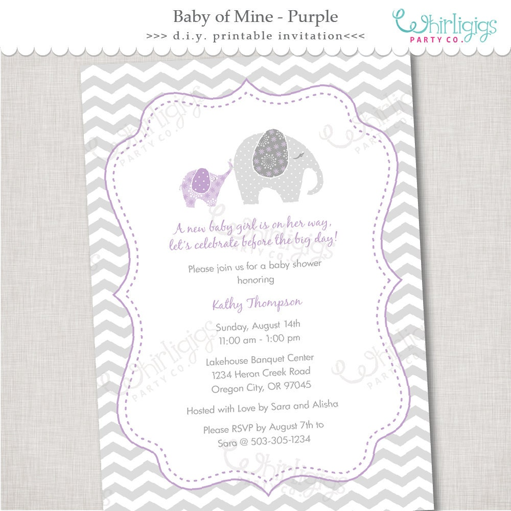 purple elephant baby shower invitation by whirligigspartyco