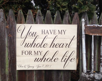 You Have My Whole Heart for my Whole Life Personalized Customizable Distressed Wood Pallet style Sign Wedding Anniversary Gift 18x24