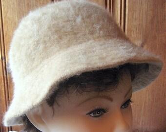 "Angora Mohair Hat by Betmar - Vintage Women's Unlined Winter Hat - Soft, Fuzzy Bucket Hat - Tan / Neutral Beige Furry Hat - 23"" Band Large"