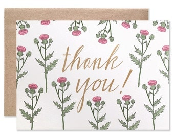 Thank you Thistle with Gold Foil