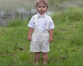 Baby boy baptism outfits Boy ivory suit Ring bearer suit Boy 1st birthday shorts suspenders Boy wedding formal wear Christening linen outfit