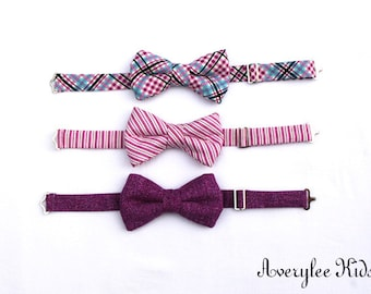 Boys Bow Tie in Boysenberry, Striped Boys Bowtie, Navy and Raspberry Plaid Bow Tie, Toddler Boys Bowtie, Wedding Ring Bearer