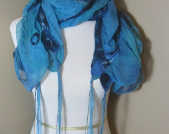 Blue nuno felted scarf with fringe-
