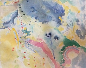 Abstract Watercolor Painting in Pastel Colors, Original Art
