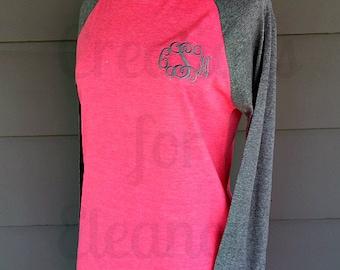 Women's Monogrammed Raglan Sleeve T-shirt, Women's Monogrammed T-shirt, Women's Baseball T-shirt, Monogrammed Baseball, Monogrammed Raglan