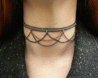 Silver Zipper Draping Chain Choker - Industrial Choker - Wedding Choker - Zipper Jewelry