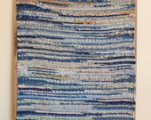 """Hand Woven Rag Rug - Blue Scrappy Patchwork Cotton Rug 22"""" x 48"""""""